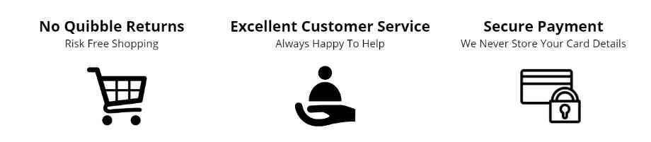 Secure Payments, Easy Returns, Customer Service